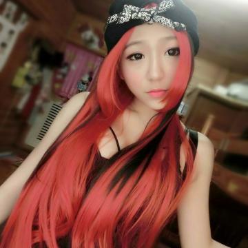 【MA180】挑染~神魔之塔 COS紅黑混色中分中長直髮