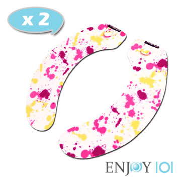 《ENJOY101》水洗式抑菌止滑馬桶坐墊(馬桶墊/保潔墊)-旅行攜帶型*2套-彩色潑墨
