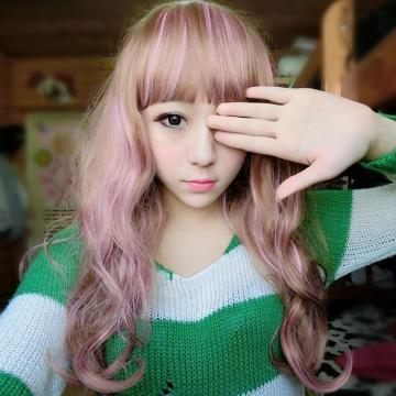 【MA172】挑染~妹妹頭粉混色波浪中長髮