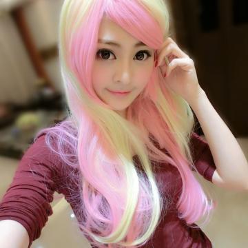 【MA011】角色扮演挑染米金混粉色COS長瀏海微捲長髮