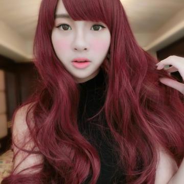 【MA183】搶眼新色~妹妹頭酒紅色浪漫中長捲髮