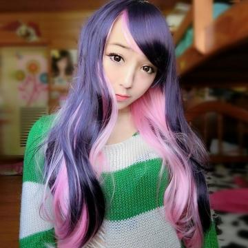 【MA168】角色扮演/粉色MIX深紫雙色漸層假髮