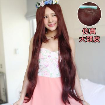 【MC098】女神系~長髮女王中分超長100公分長直微捲髮(加大仿真頭皮)