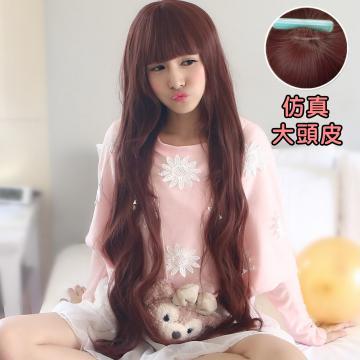 【MC099】女神系~長髮女王平瀏海中分超長100公分長直微捲髮(加大仿真頭皮)