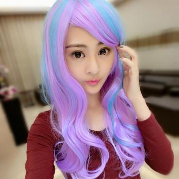 【MA016】角色扮演藍紫混色COS長瀏海微捲長髮