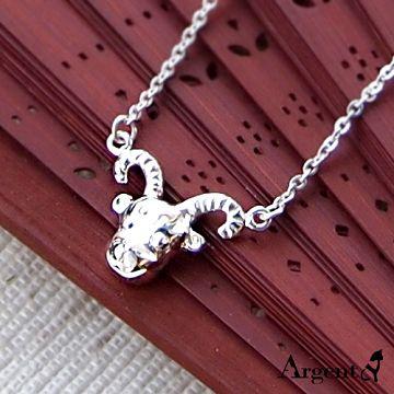 【ARGENT安爵銀飾精品】動物系列「喜羊羊(無染黑)」純銀項鍊 洋洋得意好運到 背面可加購刻字