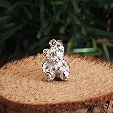 【ARGENT安爵銀飾精品】動物系列「愛心小熊(無染黑) 」純銀項鍊 (背面可加購刻字)