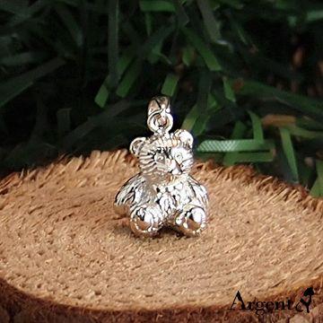 【ARGENT安爵銀飾精品】動物系列「領結小熊(無染黑) 」純銀項鍊 (背面可加購刻字)
