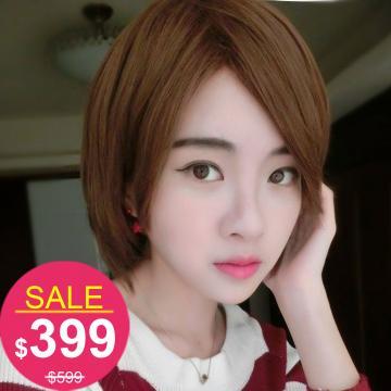 【A096】高仿真整頂假髮~帥氣GIRL斜劉海短髮(特價)
