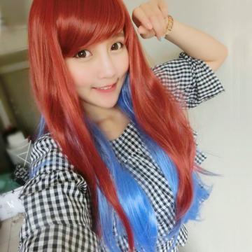 【MA149】紅藍混色雙色漸層微捲長髮