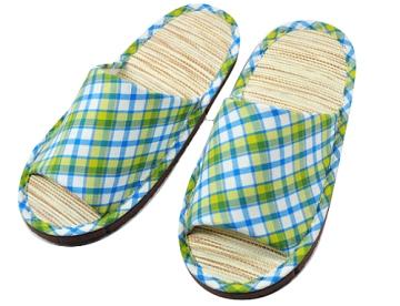 (e鞋院) 跳格子紙蓆兒童室內拖鞋 ~黃藍~