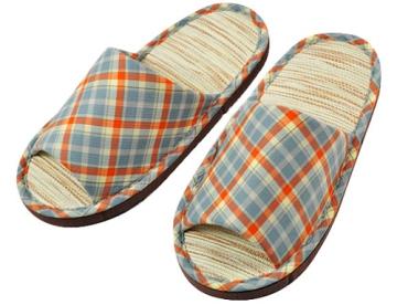 (e鞋院) 跳格子紙蓆兒童室內拖鞋 ~橘藍~