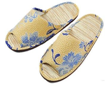 (e鞋院) 復古年代紙蓆室內拖鞋 ~黃~