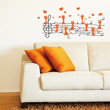 【Smart Design】創意無痕壁貼◆貓咪五線譜