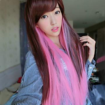 MC193原宿風漸變色咖啡混粉紅長直髮