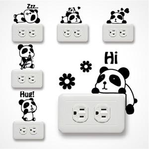 【Smart Design】創意無痕壁貼◆可愛胖達插座貼(一張九款)