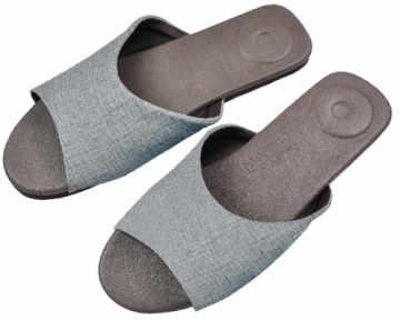 (e鞋院)淡雅物語按摩室內拖-- 銀灰