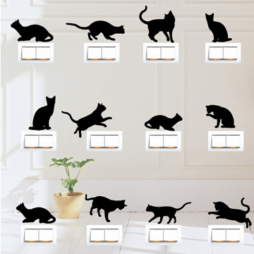 【Smart Design】創意無痕壁貼◆貓咪開關貼 9色可選