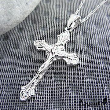 【ARGENT安爵銀飾精品】十字架系列「古典十字」 純銀項鍊(無染黑款)