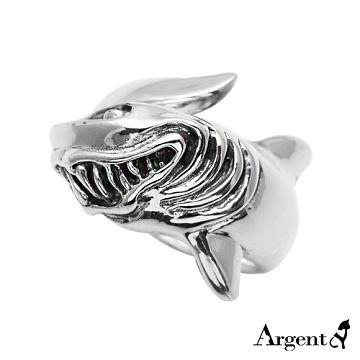 【ARGENT安爵銀飾精品】動物系列「 惡鯊」 純銀戒指(染黑款)