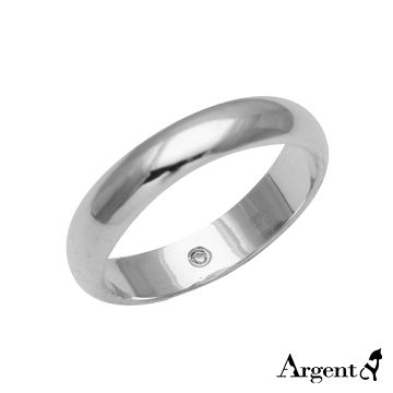 【ARGENT安爵銀飾精品】美鑽系列「藏鑽(4mm)-無刻字版」純銀戒指(版寬4mm)-可加購刻字