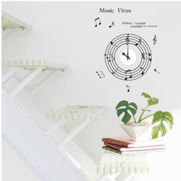 【Smart Design】創意無痕壁貼◆音樂時鐘(含時鐘機芯)