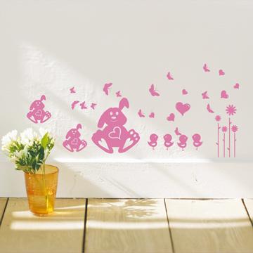 【Smart Design】創意無痕壁貼◆愛心兔 8色可選