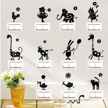 【Smart Design】創意無痕壁貼◆動物開關貼 8色可選