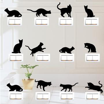 【Smart Design】創意無痕壁貼◆貓咪開關貼 8色可選