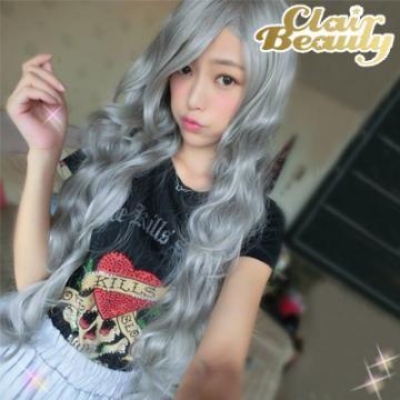 【MA220】超長80公分石灰色長瀏海大波浪假髮