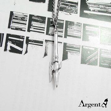【ARGENT銀飾】兵器系列「單柄方天畫戟(染黑款)」 純銀項鍊 三國兵器系列 師傅改良款