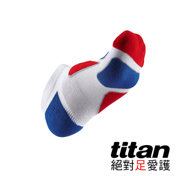 Titan功能慢跑踝襪-[白/紅/藍]