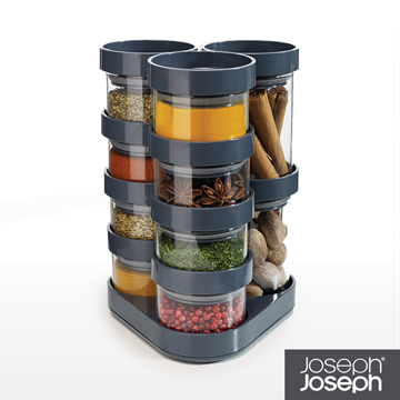 《Joseph Joseph英國創意餐廚》太空積木收納罐(十件組-灰)