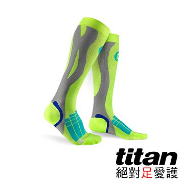Titan壓力運動襪-Elite[螢光黃/淺灰]