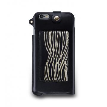 iPhone 6s Plus -掛繩式卡夾站立皮套-漆黑金