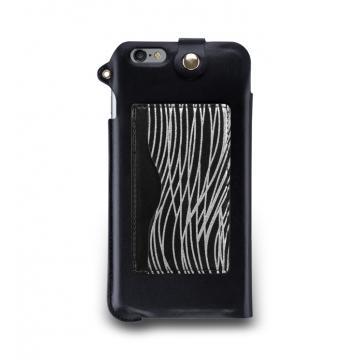iPhone 6s Plus -掛繩式卡夾站立皮套-漆黑銀