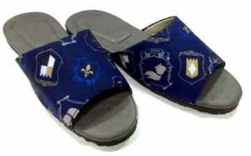 (e鞋院)英倫格調室內皮拖鞋~藍~