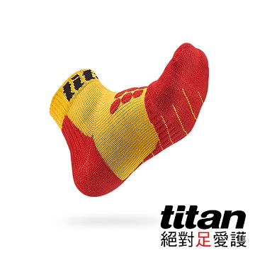 【Titan】全方位球類運動襪[黃/紅]