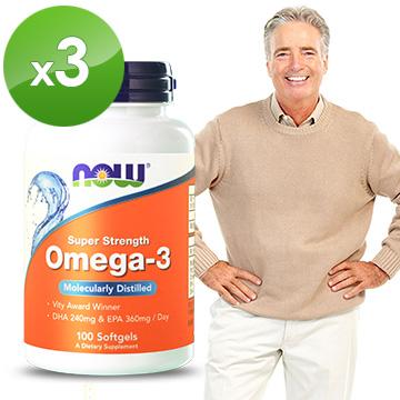 NOW健而婷-Omega-3深海魚油(100顆/瓶)三瓶組