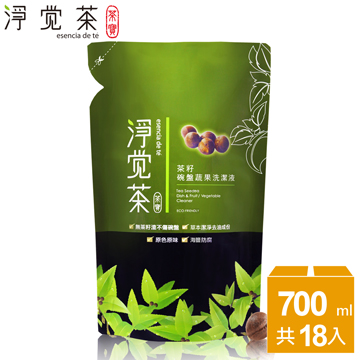 【茶寶 淨覺茶】茶籽碗盤蔬果洗潔液補充包700ml(18入)