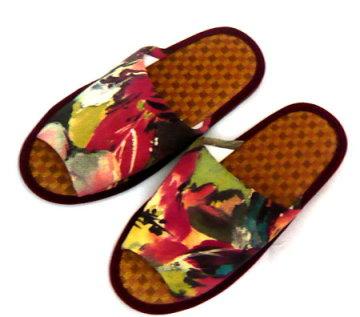 (e鞋院) 渲染風紙蓆舒適室內拖鞋-紅