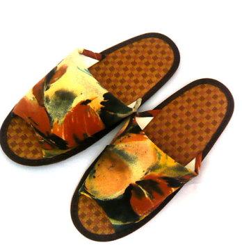 (e鞋院) 渲染風紙蓆舒適室內拖鞋-咖