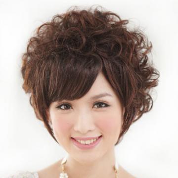 【A093A】貴婦最愛直流海鬢角微長捲短髮