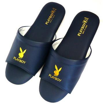 (e鞋院)PLAY BOY精緻舒適室內皮拖鞋(藍)