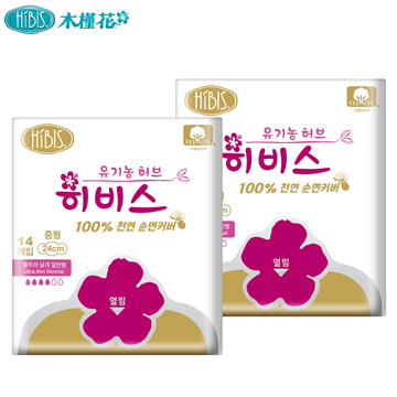 HIBIS木槿花純棉時光草本衛生棉-日用24cm(14片)*2包