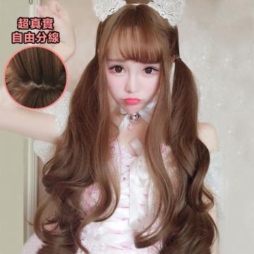 【MA243】空氣瀏海 夢幻娃娃中長捲髮(加大頭皮)-高仿真整頂假髮