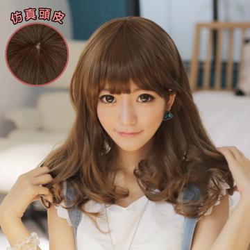【MA113】棉花糖女孩中長梨花假髮-高仿真超自然整頂假髮