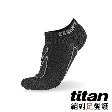 Titan功能慢跑踝襪-[黑/竹炭]
