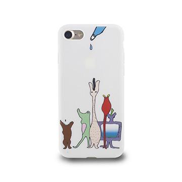 iPhone 7-小資族淺浮雕保護背套_空靈白