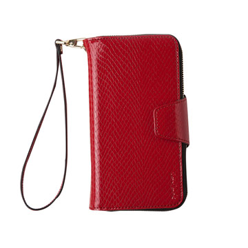 iPhone 7-蛇皮壓紋拉鍊式錢包皮套_嫣紅色